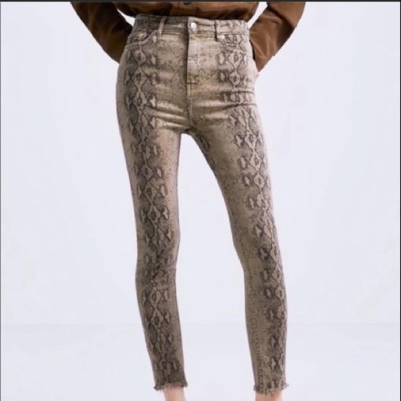 Zara Python Snake Print Fade Out Skinny Jeans NWT